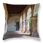 Brick And Stone Arches Line Walkway In Old Mission Ruin Throw Pillow