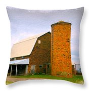 Brick Barn And Silo Throw Pillow