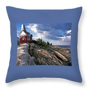 Brick Bell House At Pemaquid Point Light Throw Pillow