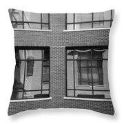 Brick Building Black And White Throw Pillow