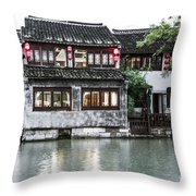 Brick House On River Throw Pillow