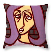 Brick Lady Throw Pillow