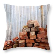 Brick Piled Throw Pillow by Stephen Mitchell