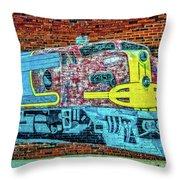 Brick Train Throw Pillow