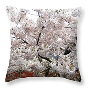 Bricks And Blossoms Throw Pillow