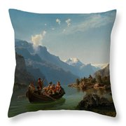 Bridal Procession On The Hardangerfjord Throw Pillow