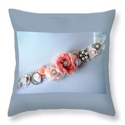 Bridal Sash Belt With Flowers And Rhinestones Throw Pillow