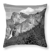 Bridalveil Falls From Tunnel View B And W Throw Pillow