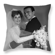 Bride And Groom, C.1960s Throw Pillow