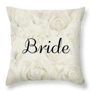 Bride Floral Design- Cream White Throw Pillow