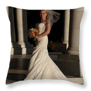 Bride In A Park Throw Pillow