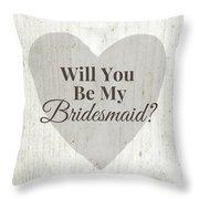 Bridesmaid Card Rustic- Art By Linda Woods Throw Pillow