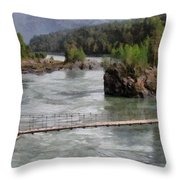 Bridge Across Mountain River Throw Pillow