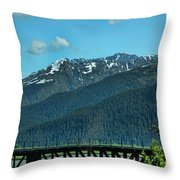 Bridge Alaska Rail  Throw Pillow