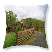 Bridge Along Lewis And Clark Hiking Trail  Throw Pillow