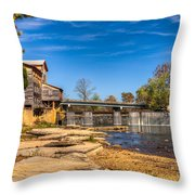 Bridge And Creek In The Fall Throw Pillow