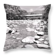 Bridge And Mountain Stream In Black And White Throw Pillow