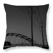 Bridge And Power Poles At Dusk Throw Pillow