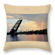 Bridge And Rainbow Over Seekonk River Throw Pillow