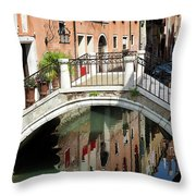 Bridge And Reflection Venice, Italy Throw Pillow