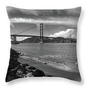 Bridge And Sea Black And White Throw Pillow