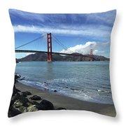 Bridge And Sea Throw Pillow