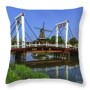 Bridge And Windmill Throw Pillow