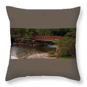 Bridge At Morikami Throw Pillow