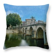 Bridge At Quissac - P4a16005 Throw Pillow