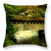 Bridge At Red Mill Throw Pillow