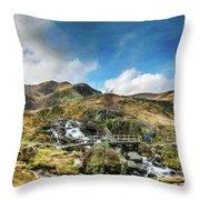 Bridge At Snowdonia Throw Pillow
