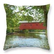 Bridge At The Green Throw Pillow