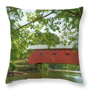 Bridge At The Green - Widescreen Throw Pillow