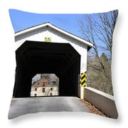 Bridge At The Mill. Throw Pillow