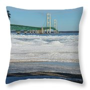 Bridge At Winter Throw Pillow