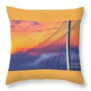 Bridge Detail At Sunrise Throw Pillow