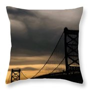 Bridge In Oil Throw Pillow by Thomas  MacPherson Jr