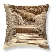 Bridge In Sepia Throw Pillow