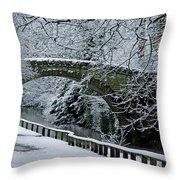 Bridge In Snow Throw Pillow