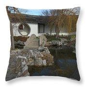 Bridge In The Chinese Garden Throw Pillow