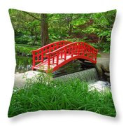 Bridge In The Woods Throw Pillow