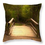 Bridge In The Woods Throw Pillow