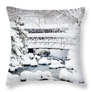 Bridge In Winter Snow Throw Pillow