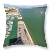 Bridge Of 25 April Panorama Throw Pillow