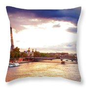 Bridge Of Alexandre IIi And Eiffel At Violet Sunset Throw Pillow