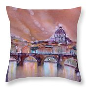 Bridge Of Angels - Rome - Italy Throw Pillow