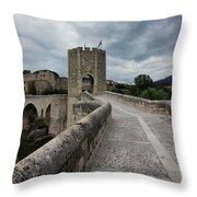 Bridge Of Besalu, Girona Provence, Catalonia, Spain-2 Throw Pillow