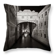 Bridge Of Sighs In The Night Throw Pillow