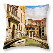 Bridge On The Canal Throw Pillow