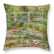 Bridge Over A Pond Of Water Lilies Throw Pillow